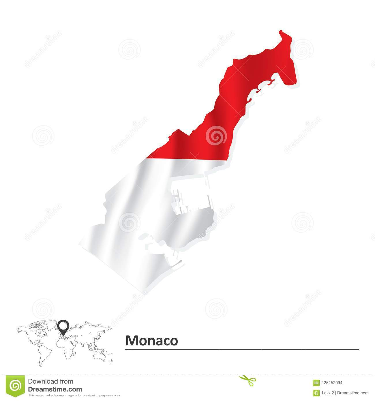 Map of Monaco with flag