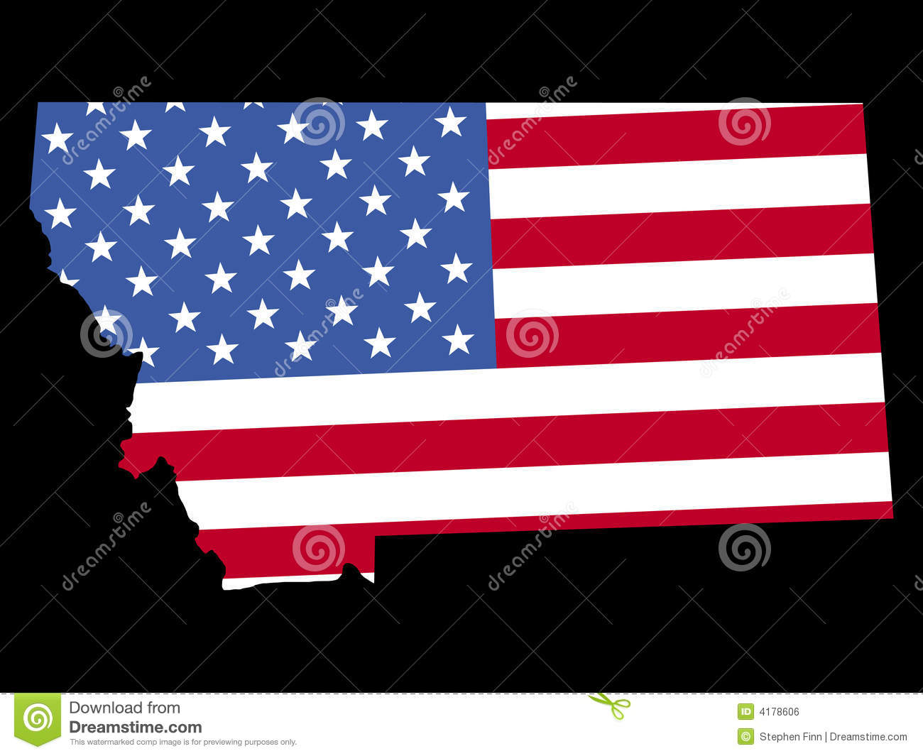 Map Of Montana With Flag Royalty Free Stock Image Image - Us map american flag