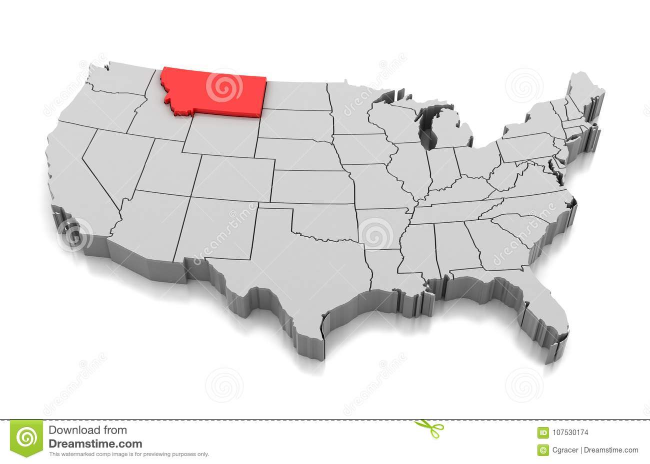 Map of Montana state, USA stock illustration. Illustration of ...