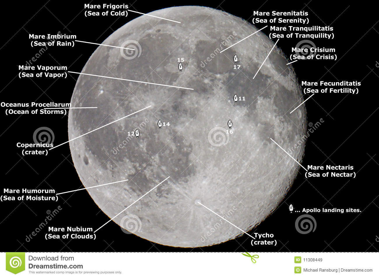 Map of the Moon stock image. Image of black, bright, landing ...