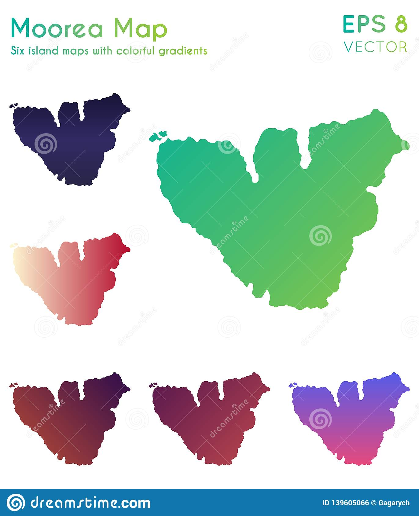 Map Of Moorea With Beautiful Gradients Stock Vector