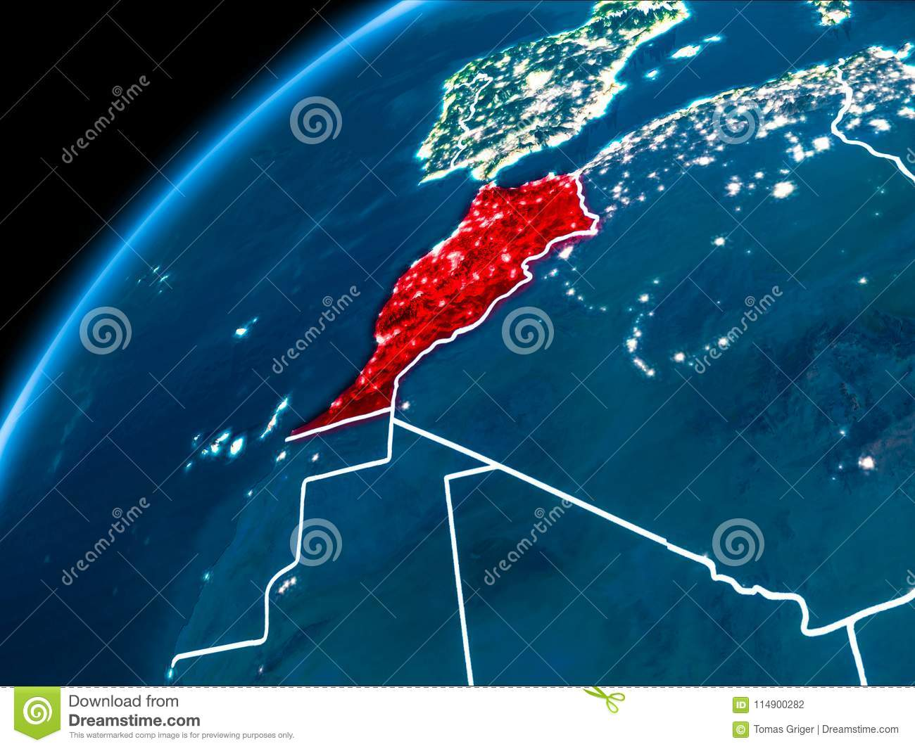 Map of Morocco at night