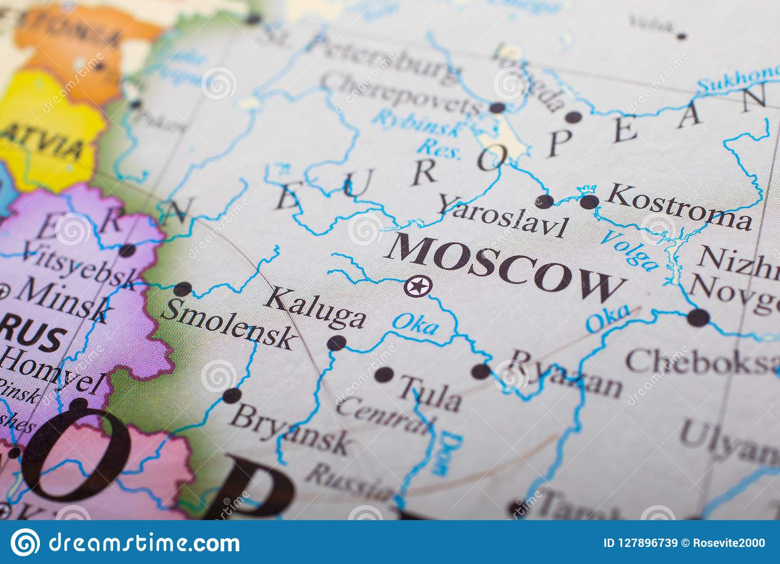 Map of Moscow Russia stock image. Image of outside, colorful ...