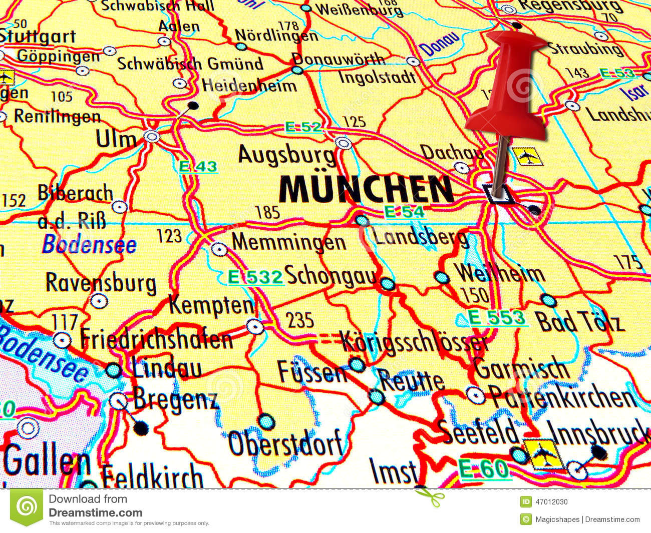 Map Of Munchen With Stabbed Pin Stock Photo Image - Munchen germany map