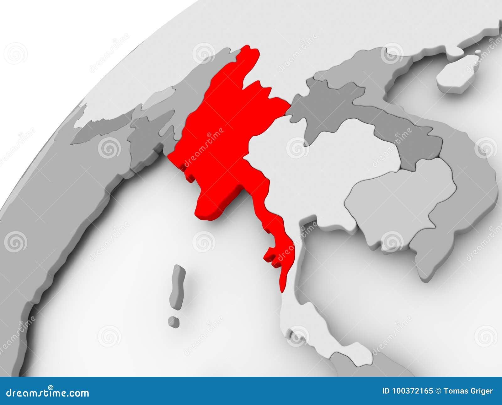 Burma Political Map.Myanmar On Grey Political Globe Stock Illustration Illustration Of