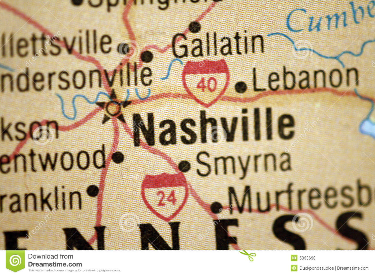 Map of Nashville Tennessee stock photo. Image of tennessee - 5033698