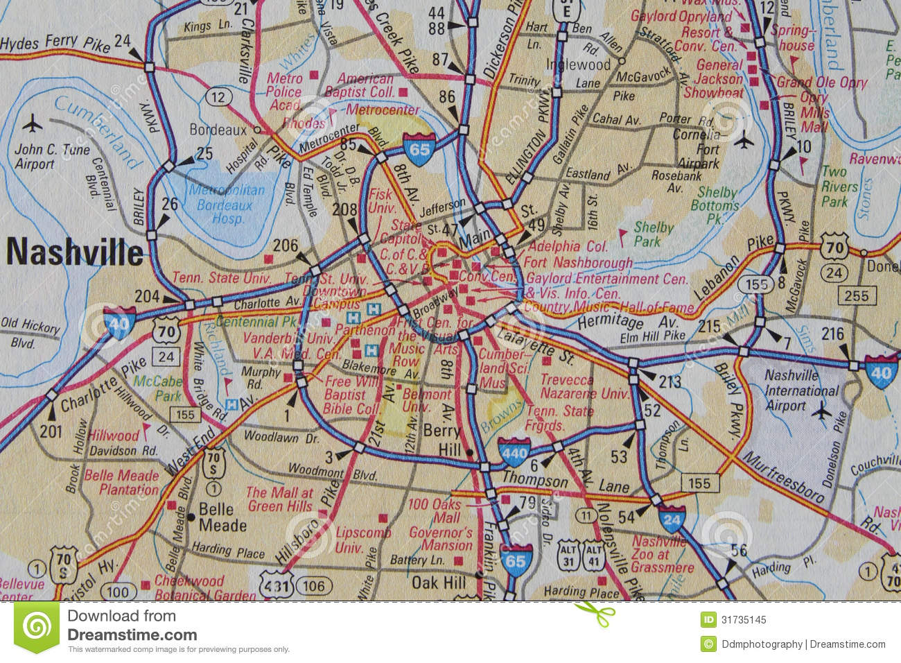 Map Of Nashville TN Royalty Free Stock Photo  Image