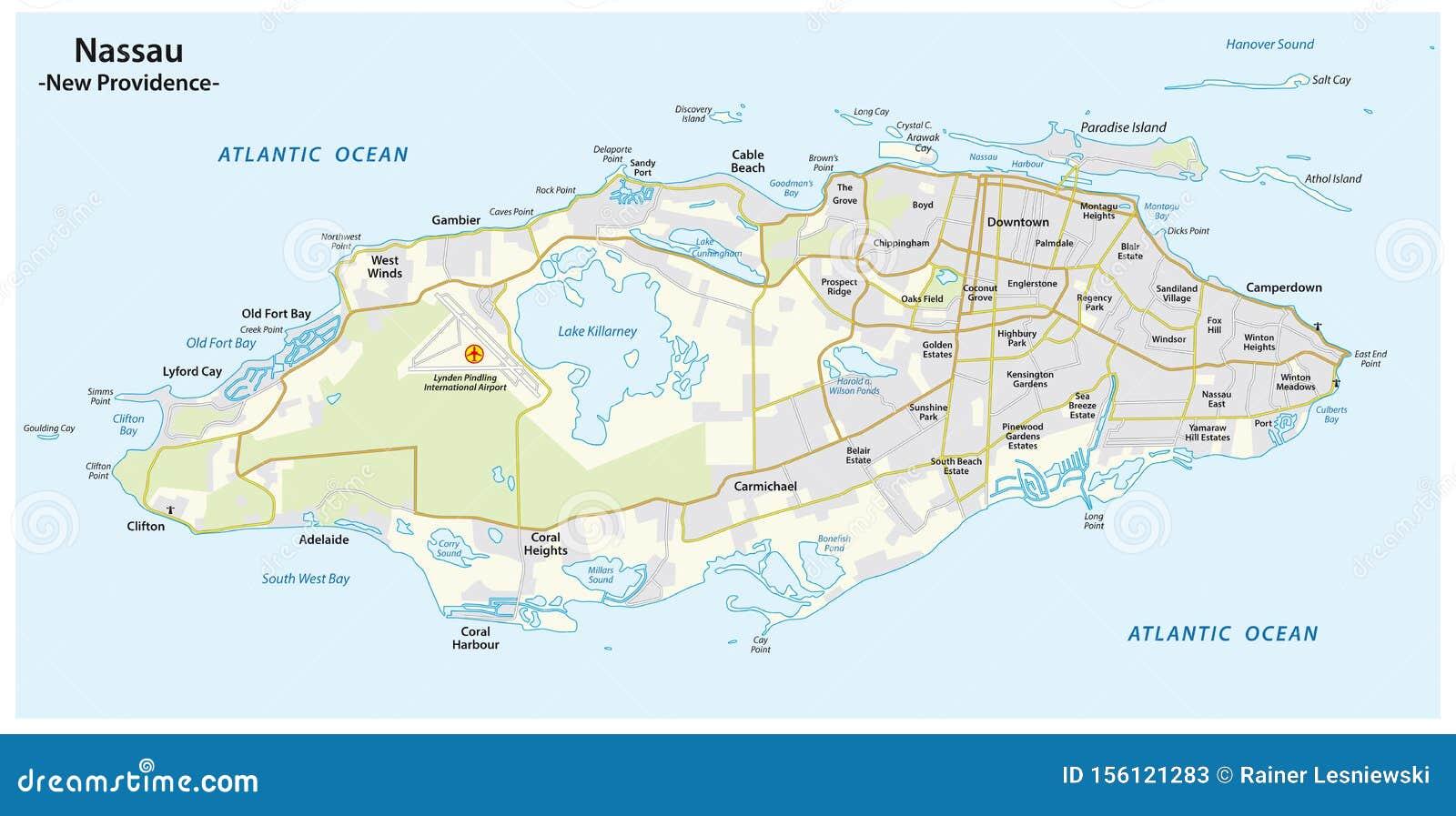 printable map of nassau bahamas Map Of Nassau Capital Of The Bahamas On The Island Of New printable map of nassau bahamas