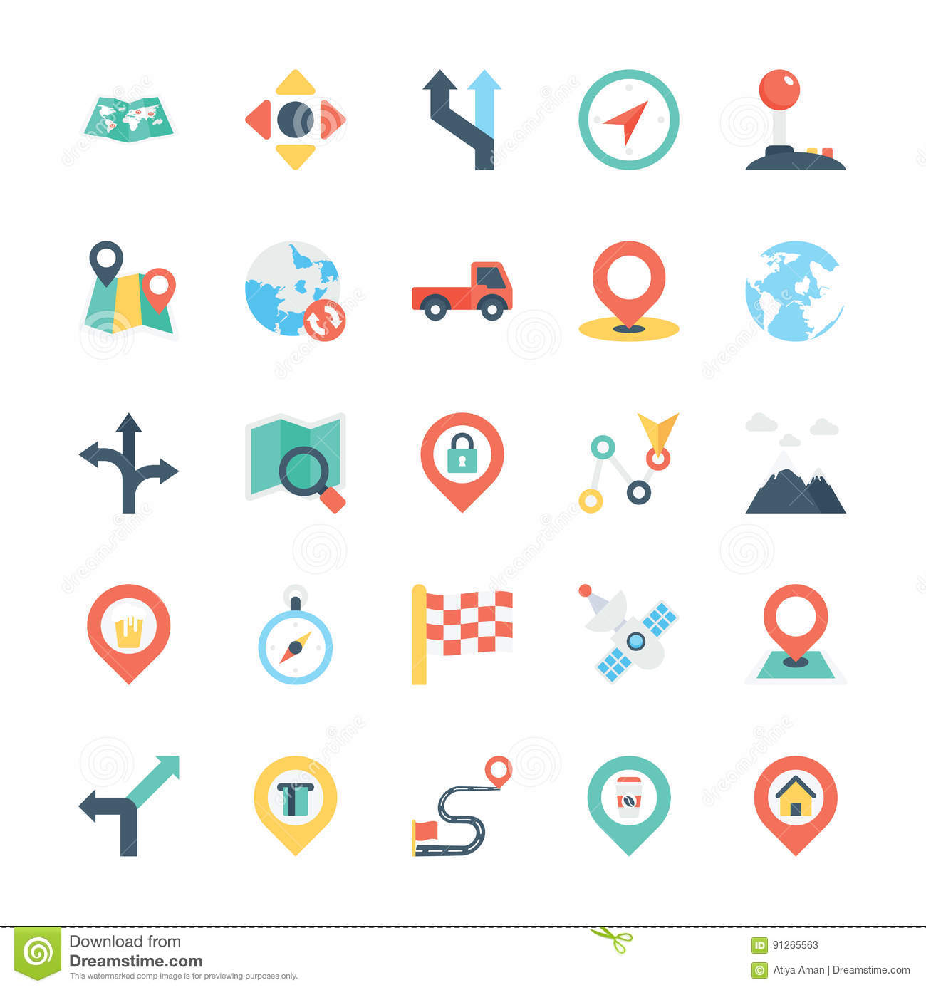 Map And Navigation Colored Vector Icons 3 Stock ...