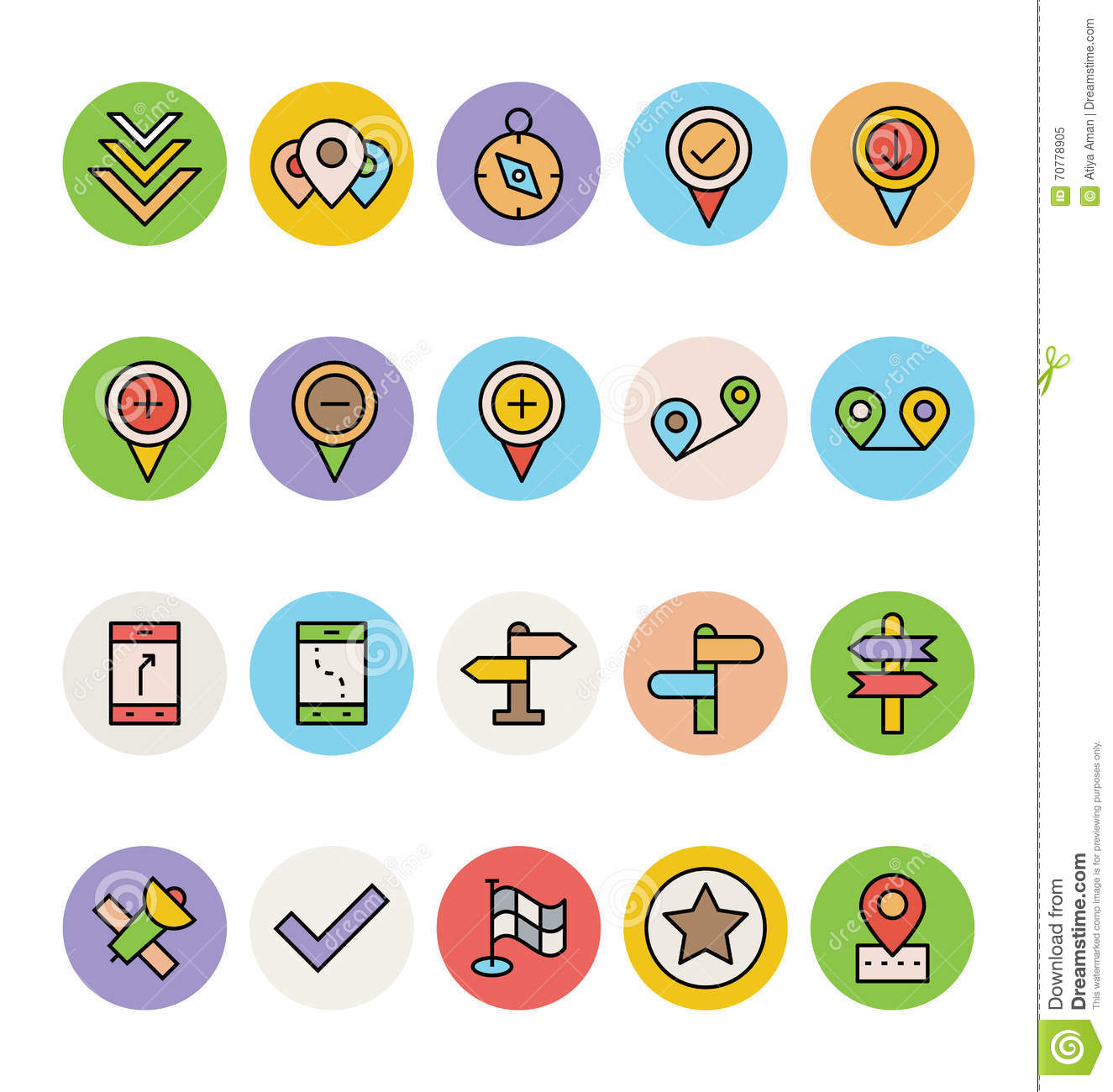 Map And Navigation Vector Icons 4 Stock Illustration ...