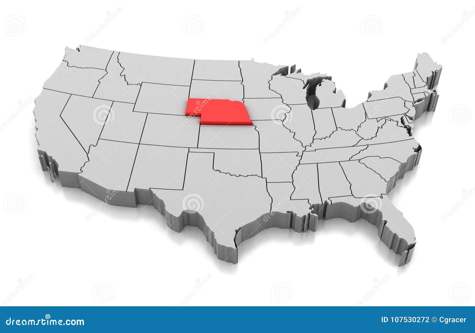 Map Of Nebraska State Usa Stock Illustration Illustration Of