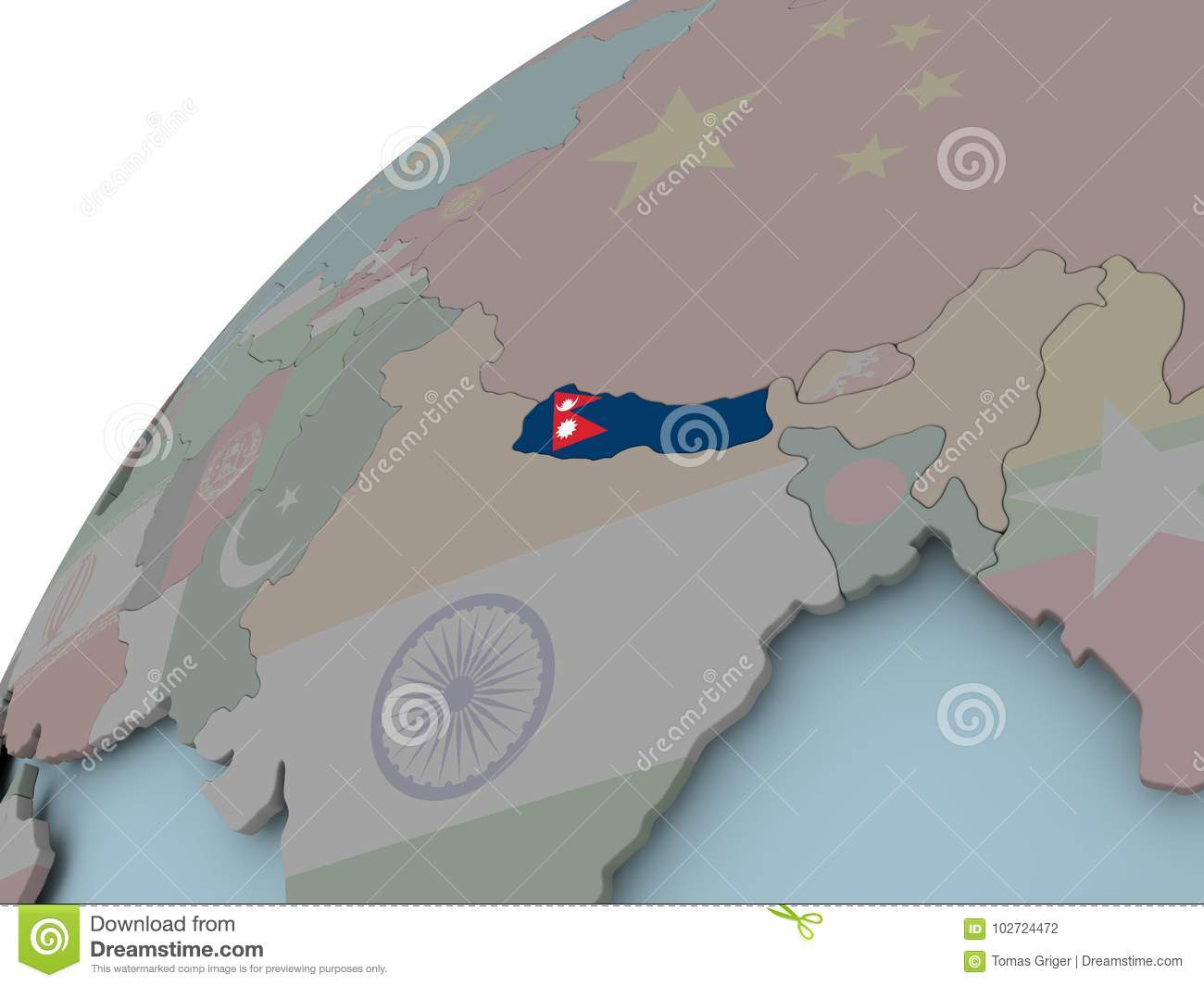 Map of Nepal with flag stock illustration. Illustration of ...