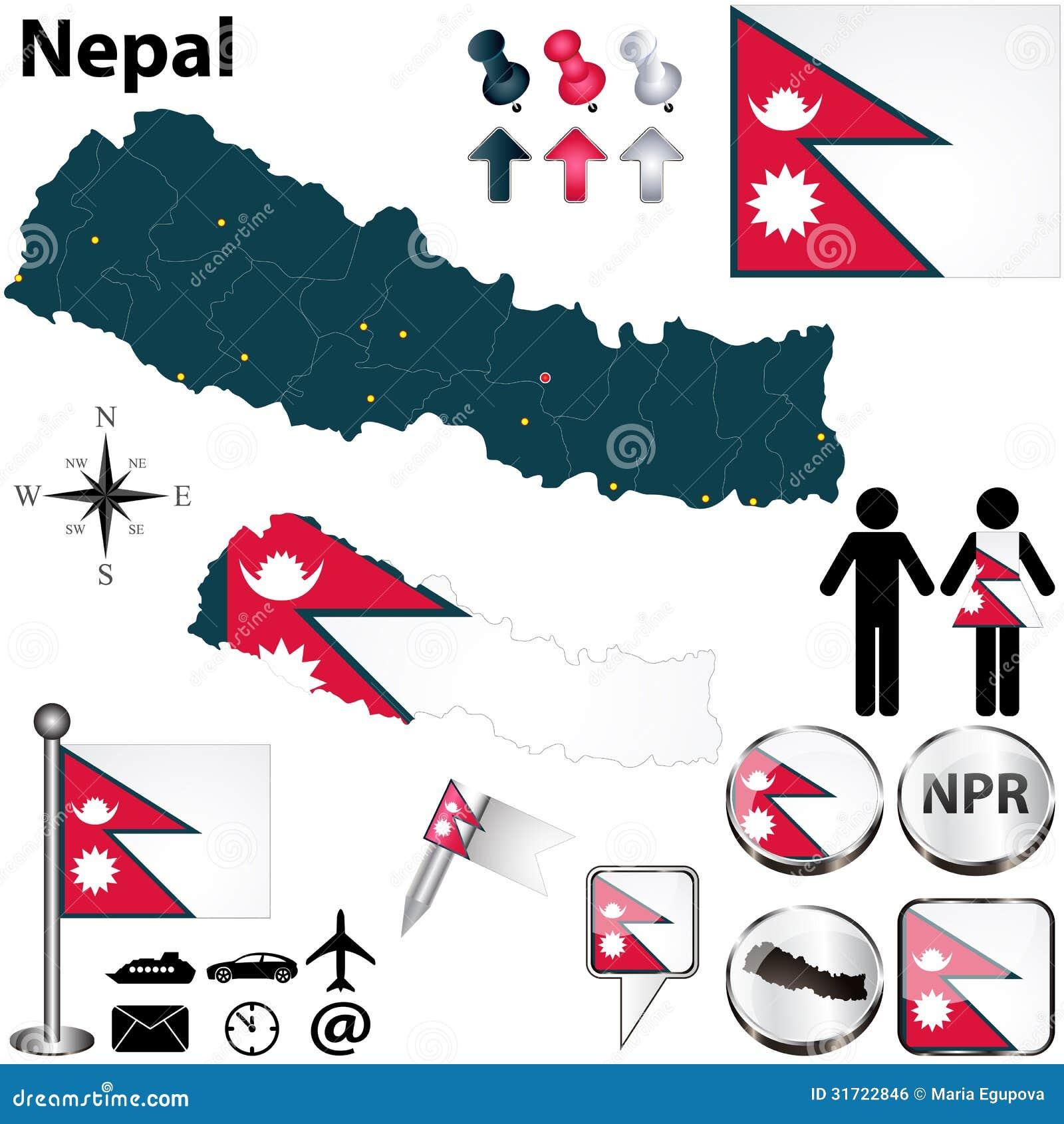 Map of Nepal stock vector. Illustration of rupee, symbol - 31722846