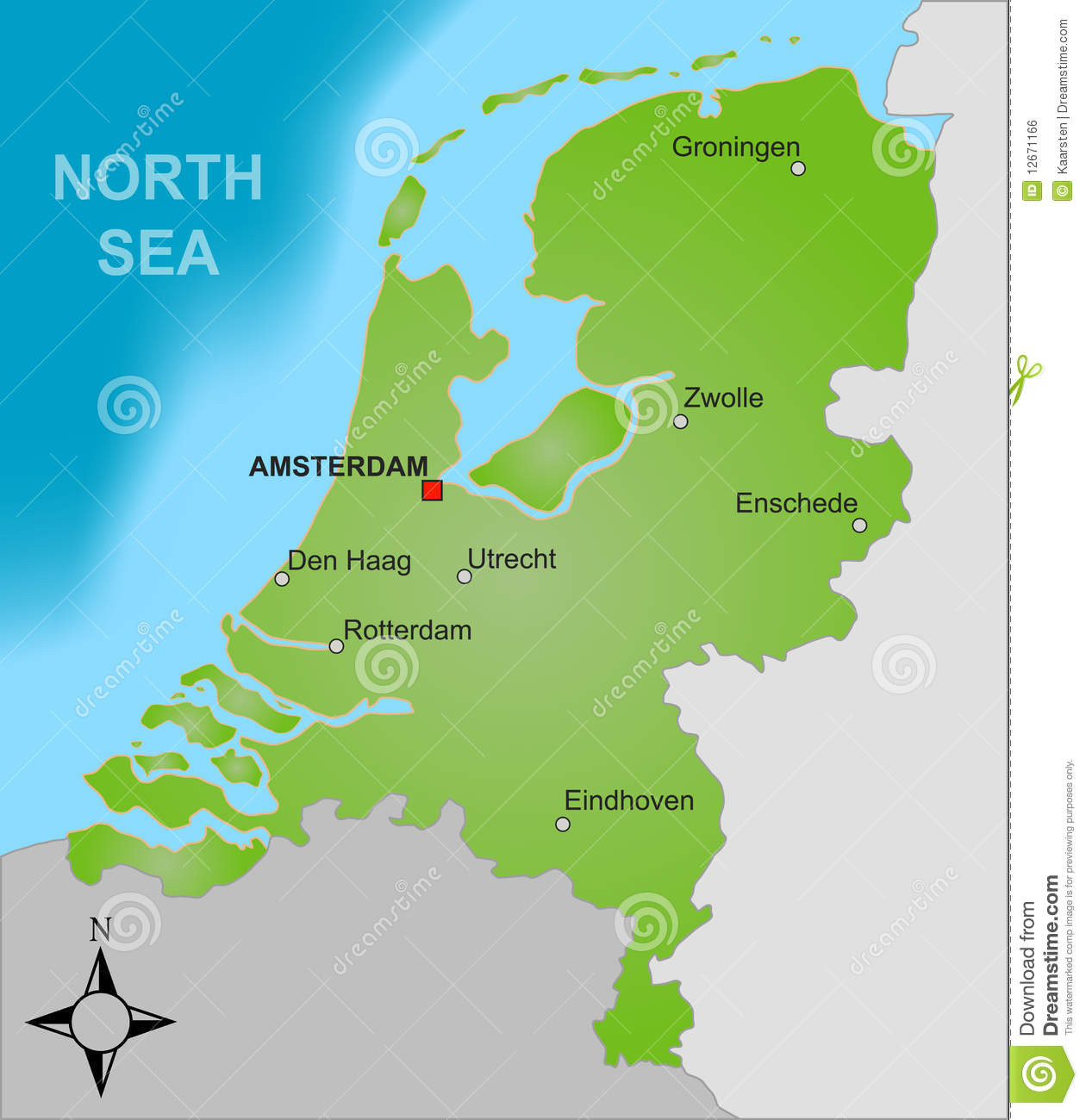 Map Of The Netherlands Stock Vector Illustration Of Dutch 12671166