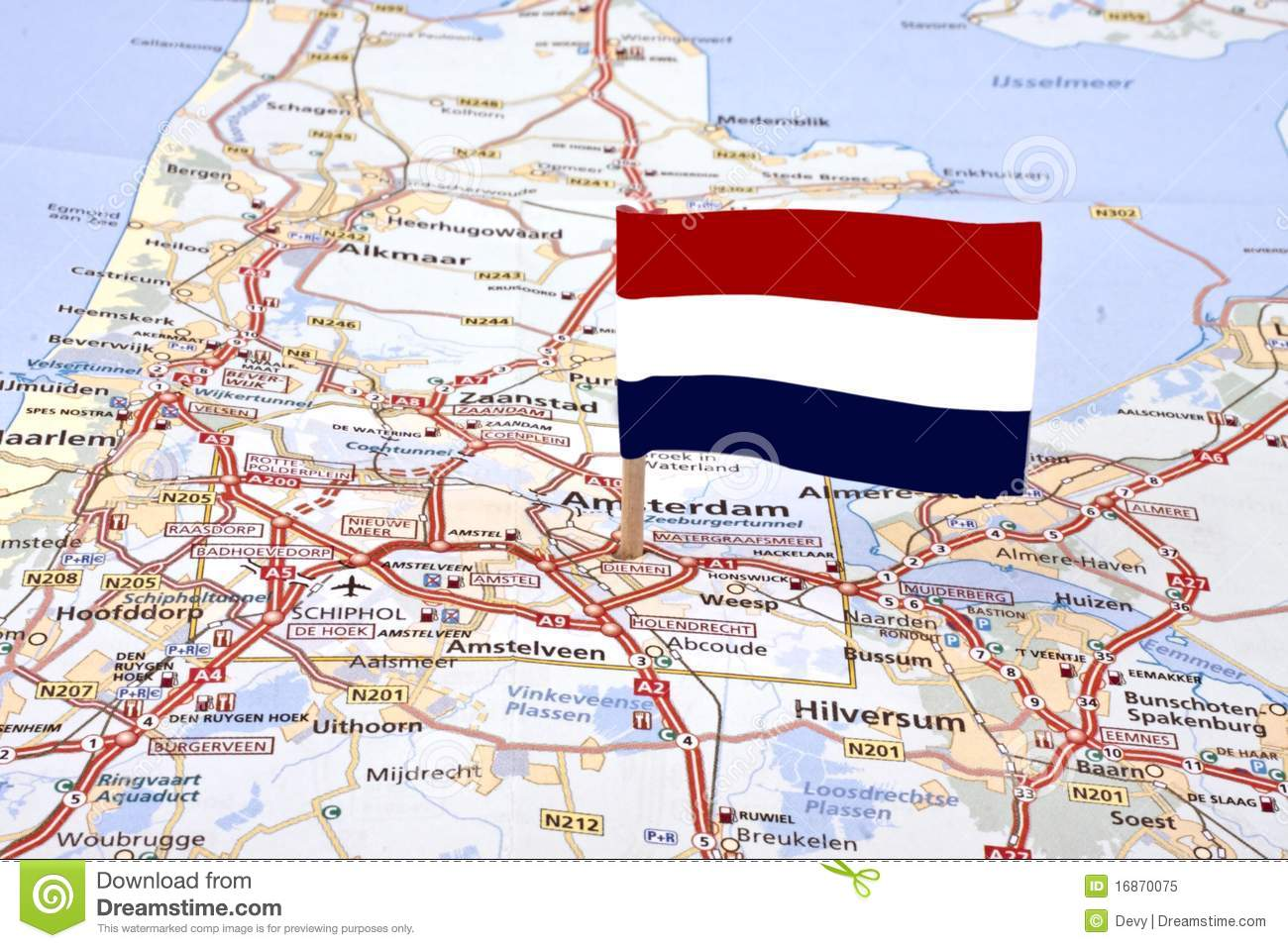Map From The Netherlands With The Dutch Flag Stock Image Image