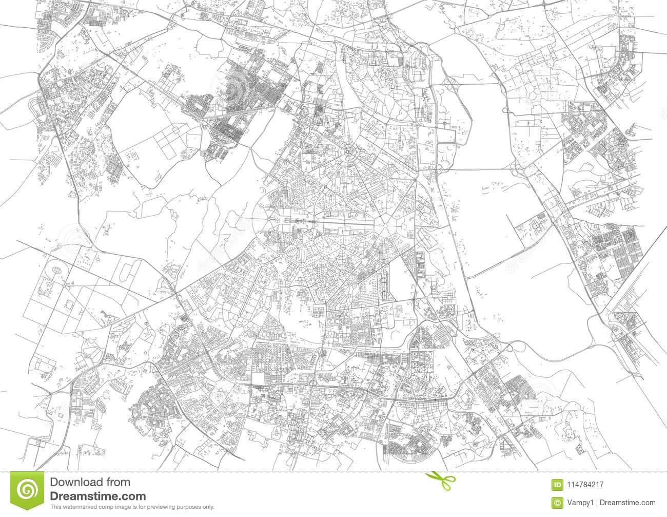 Map Of New Delhi Satellite View Streets Of The City India Stock
