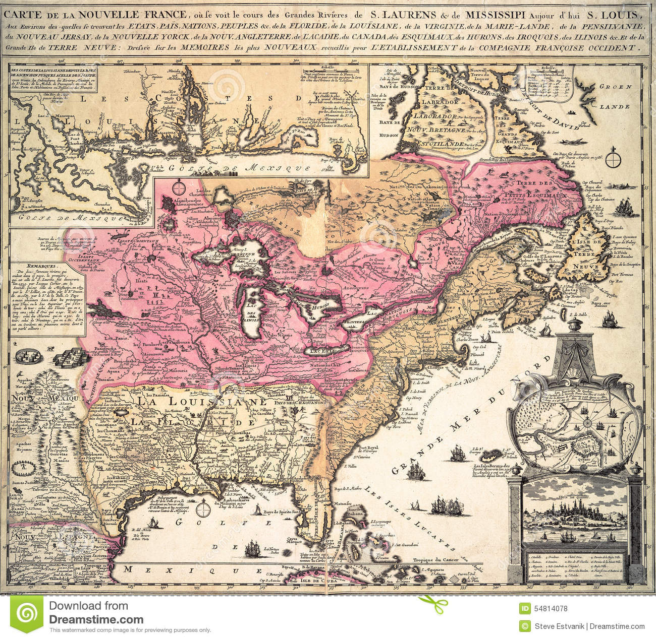 Map of new france in america stock illustration illustration of map of new france in america royalty free illustration gumiabroncs Image collections