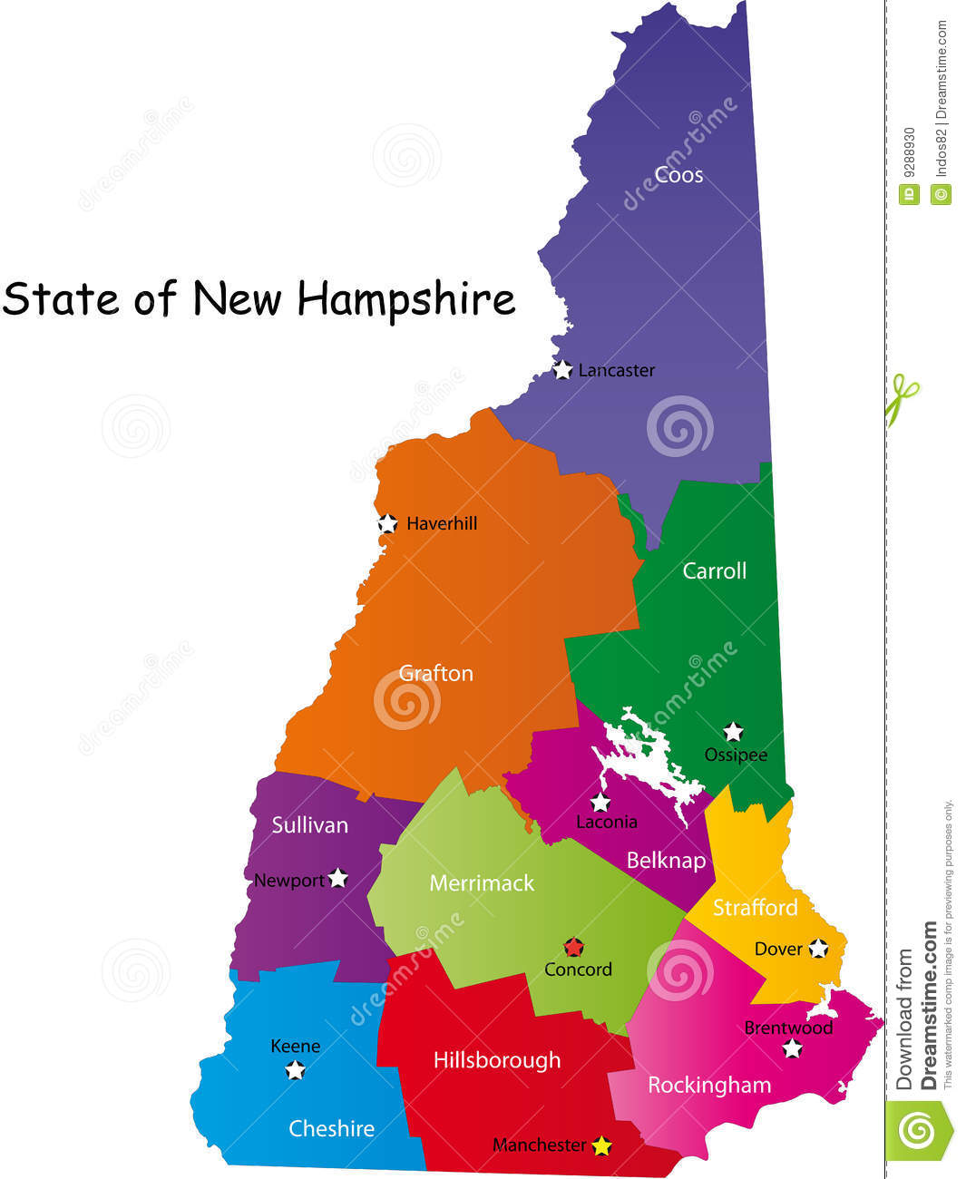 Map Of New Hampshire State Stock Photo  Image 9288930