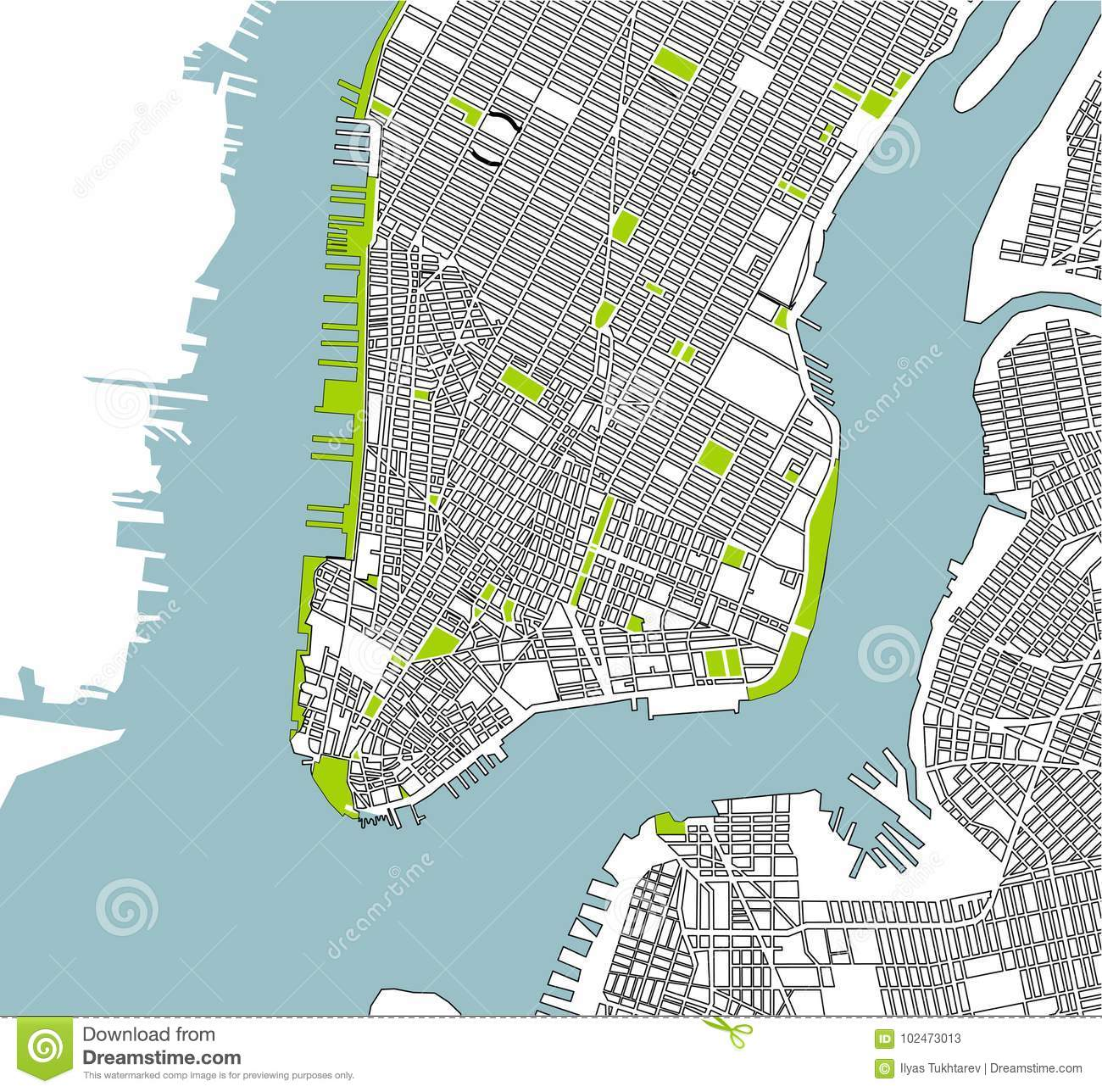 New York On Usa Map.Map Of The New York City Ny Usa Stock Illustration Illustration