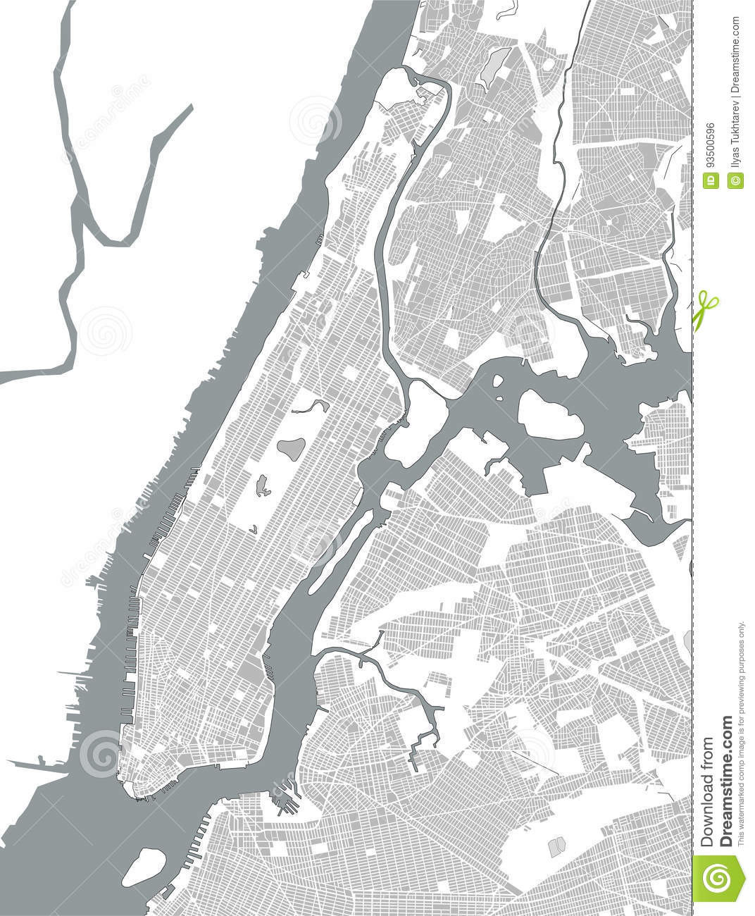 Map Of The New York City Ny Usa Stock Vector Illustration Of