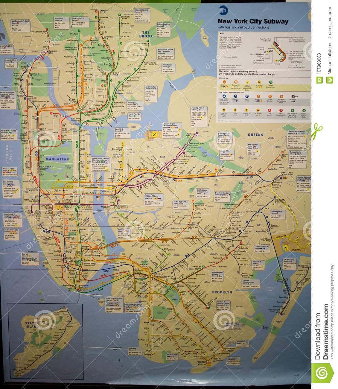 Map Of New York City Subway Editorial Stock Photo - Image of