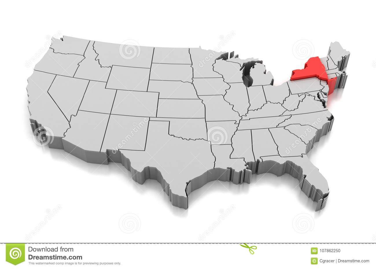 Map of New York state, USA stock illustration. Illustration of ...