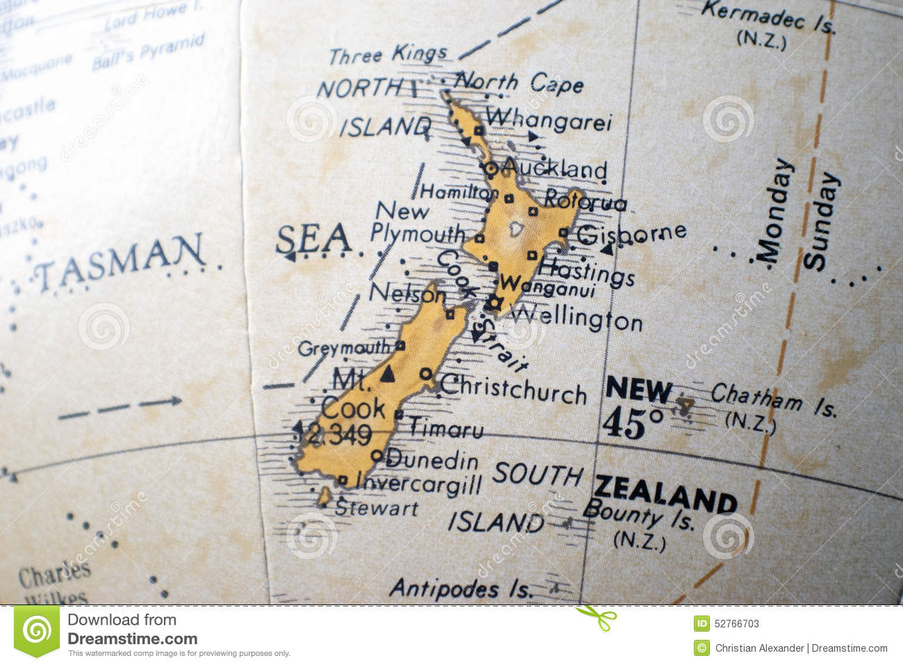 Where Is New Zealand On World Map.Map Of New Zealand On A World Globe Stock Image Image Of Atlas