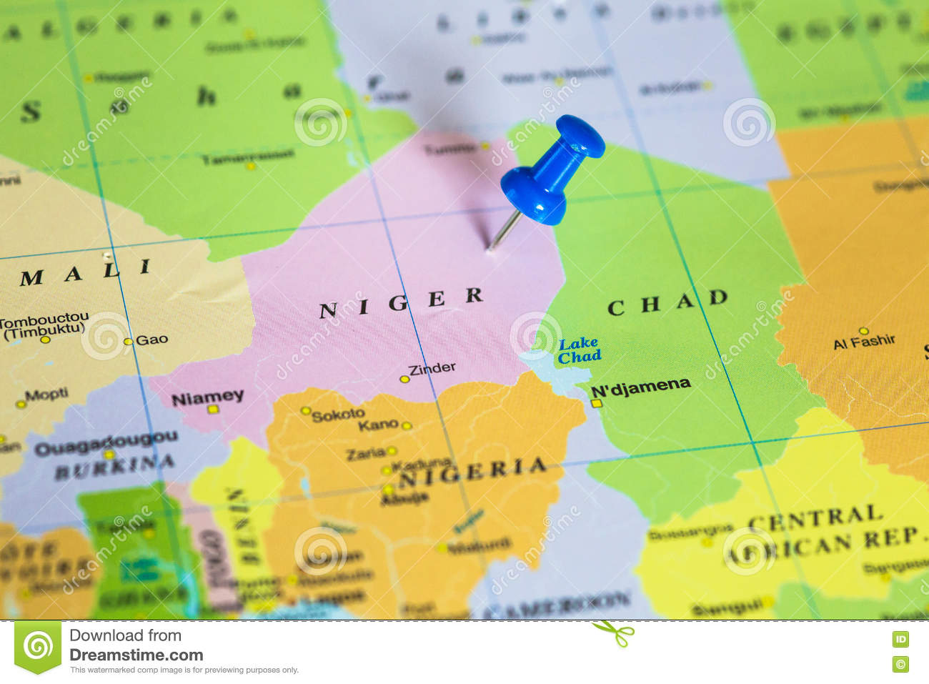Map Of Niger With A Pushpin Stuck Stock Image - Image of blue ...