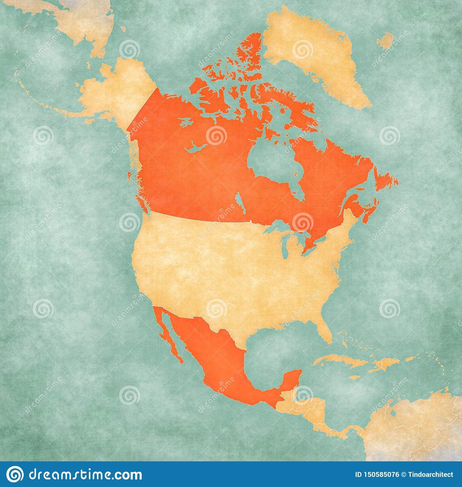 Map Of North America - Canada And Mexico Stock Illustration ...