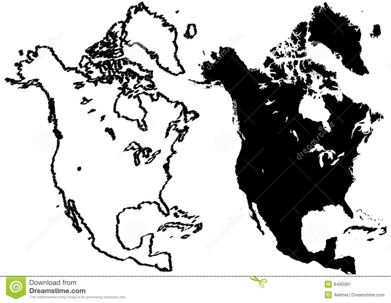 Map Of North America Illustration Stock Vector Image - North america map black and white
