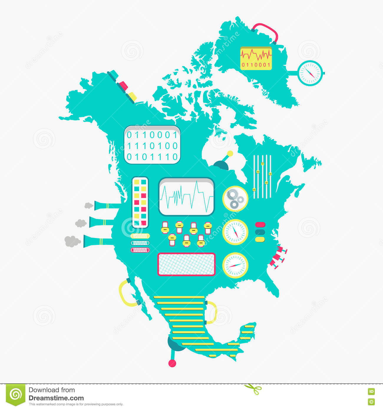 Map Of North America Machine Stock Vector Image - Download map of north america