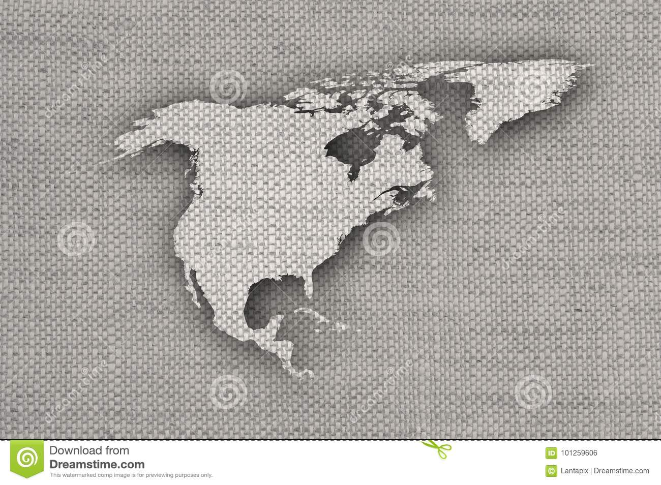 Map of North America on old linen