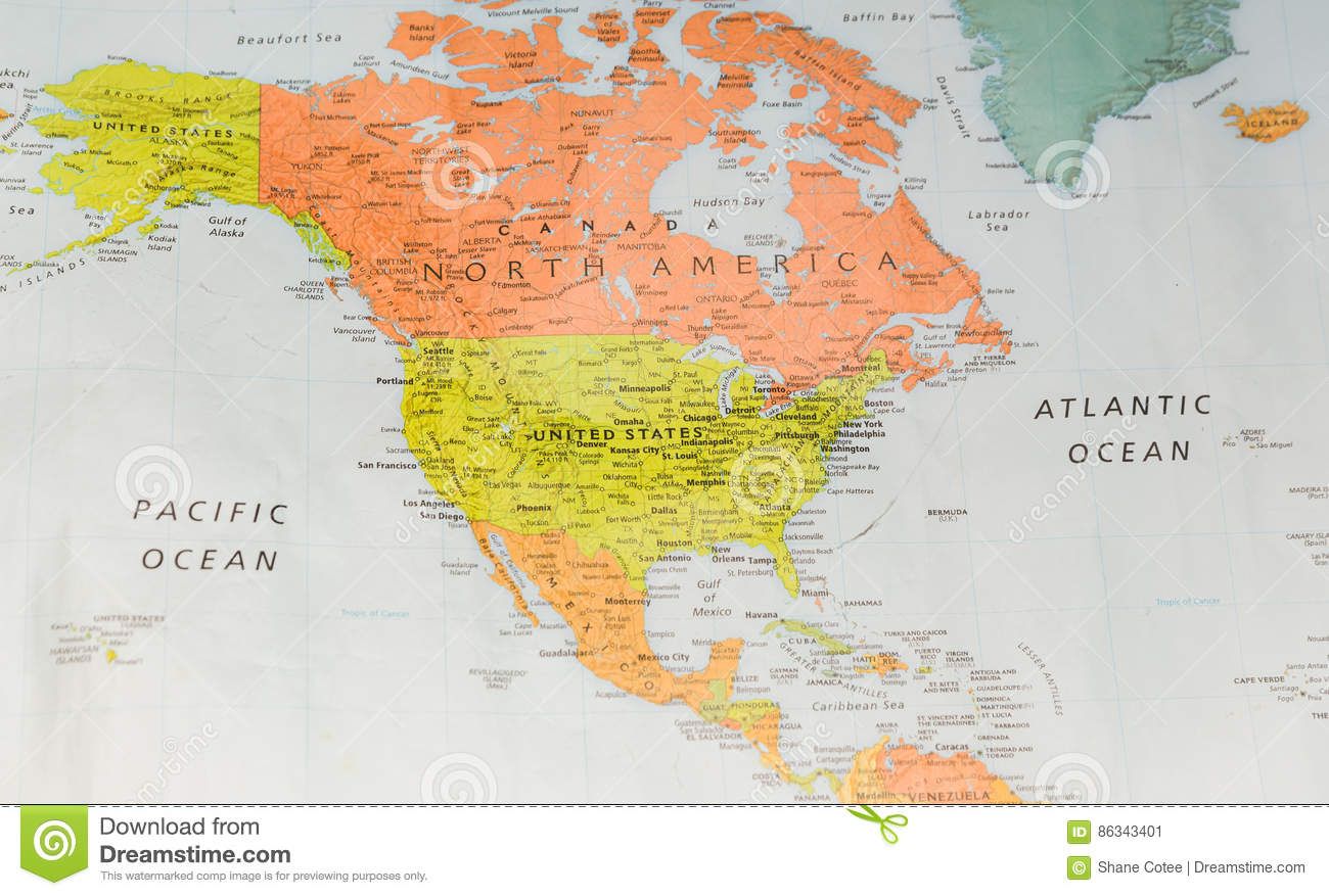 Map With North America And Two Oceans Stock Image Image Of America Geography 86343401