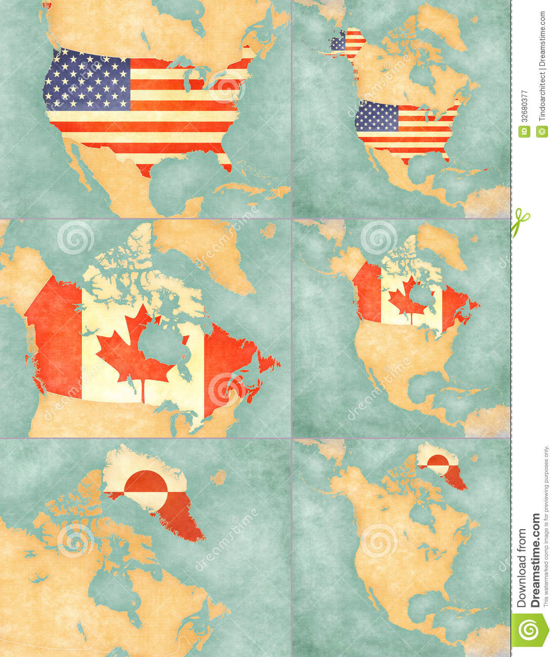 America Canada Continent Greenland Grunge Map North Outline Usa