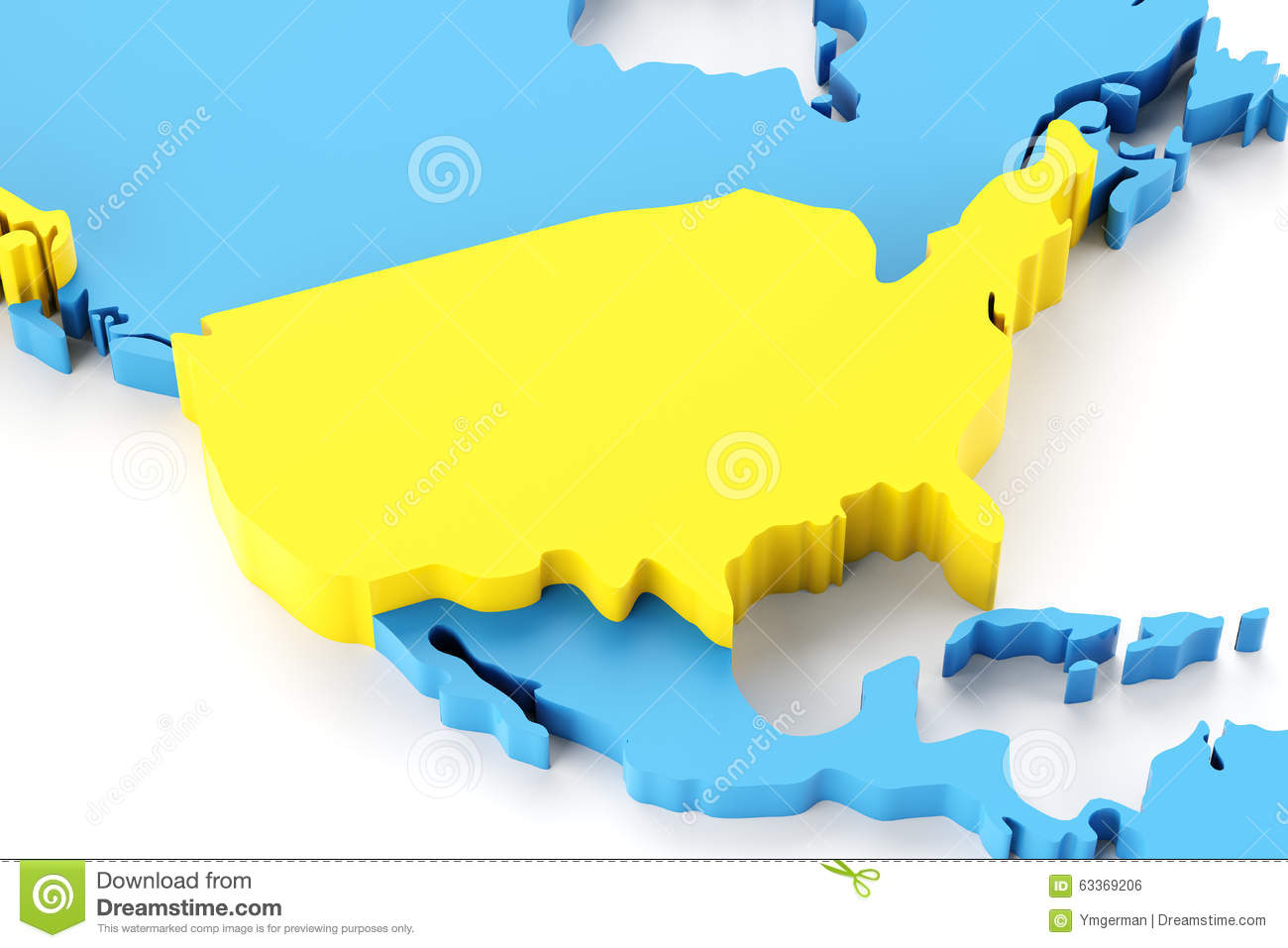 Map Of North America With USA Highlighted Stock Illustration - Download map of north america