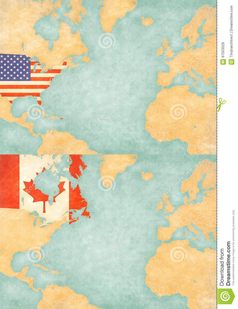 Map Of North Atlantic - United States And Canada Stock Illustration ...
