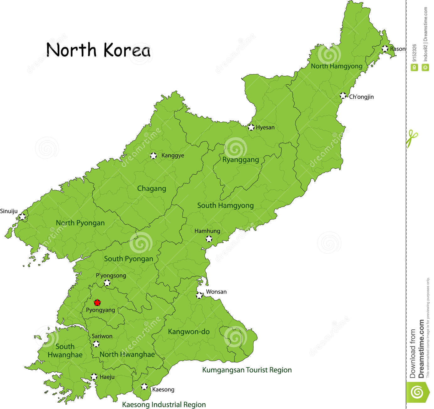 Map of North Korea stock vector. Illustration of detail - 9152326