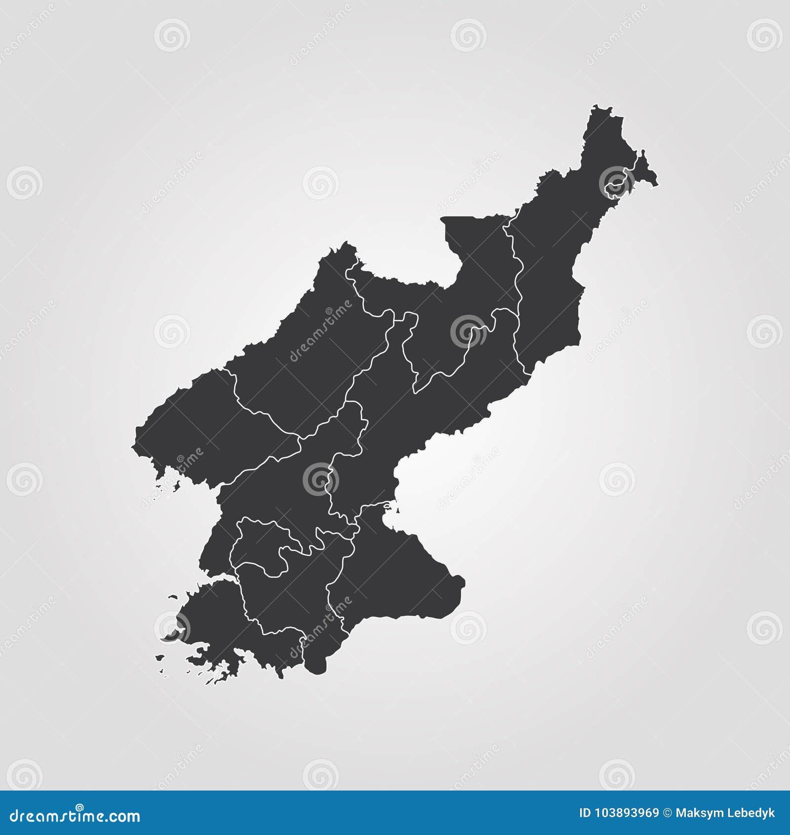 Map of North Korea stock illustration. Illustration of continent ...