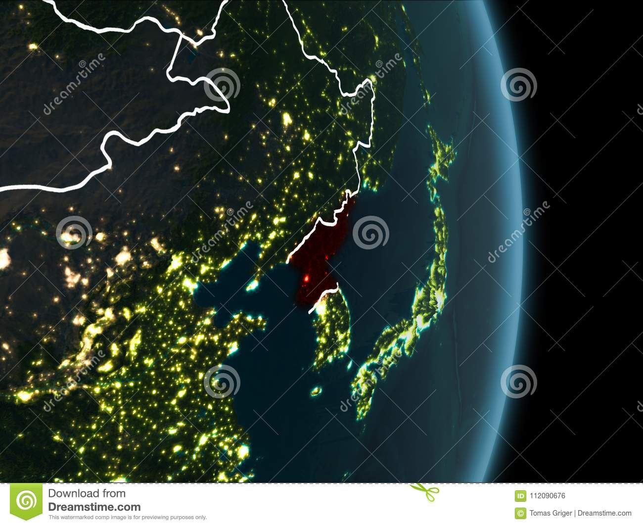 Orbit View Of North Korea At Night Stock Illustration Illustration