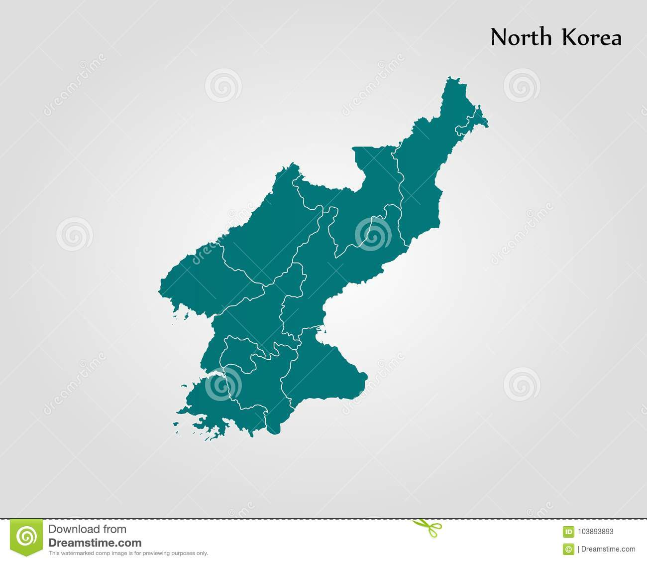 Map of North Korea stock illustration. Illustration of country ...