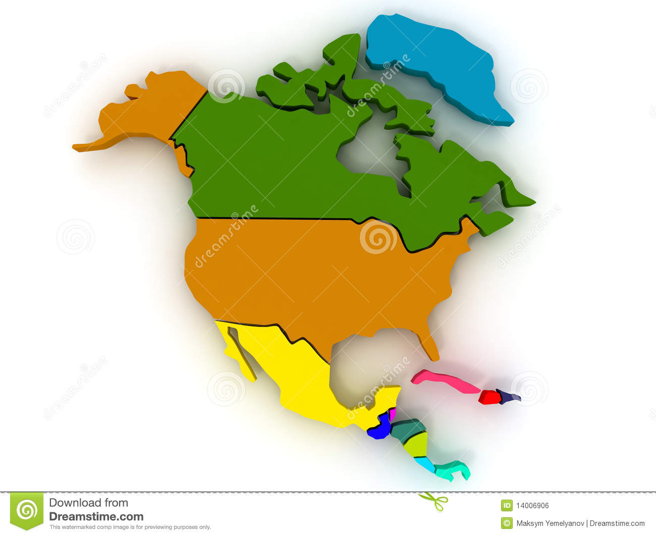 Map Of Northern America Royalty Free Stock Image - Image: 14006906