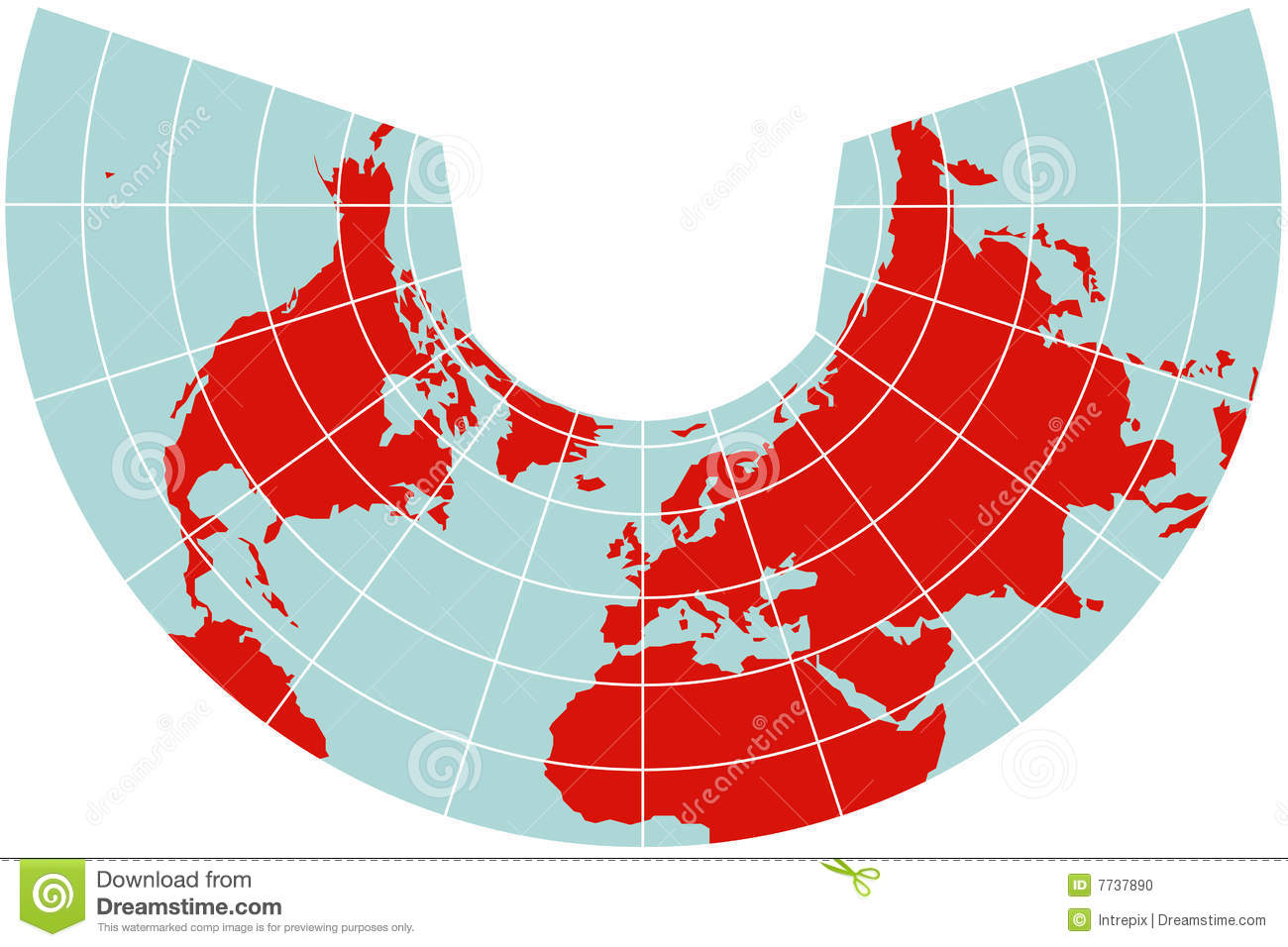 map of northern hemisphere albers projection stock photo image