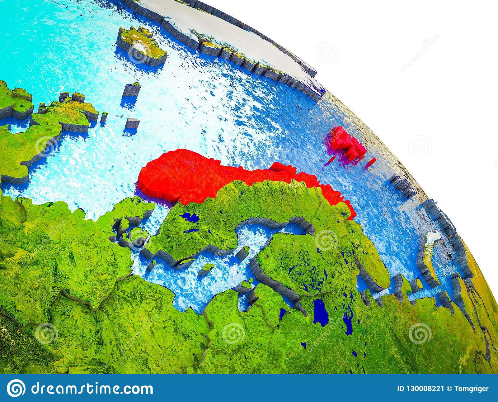 Map of Norway on 3D Earth stock image. Image of globe ...