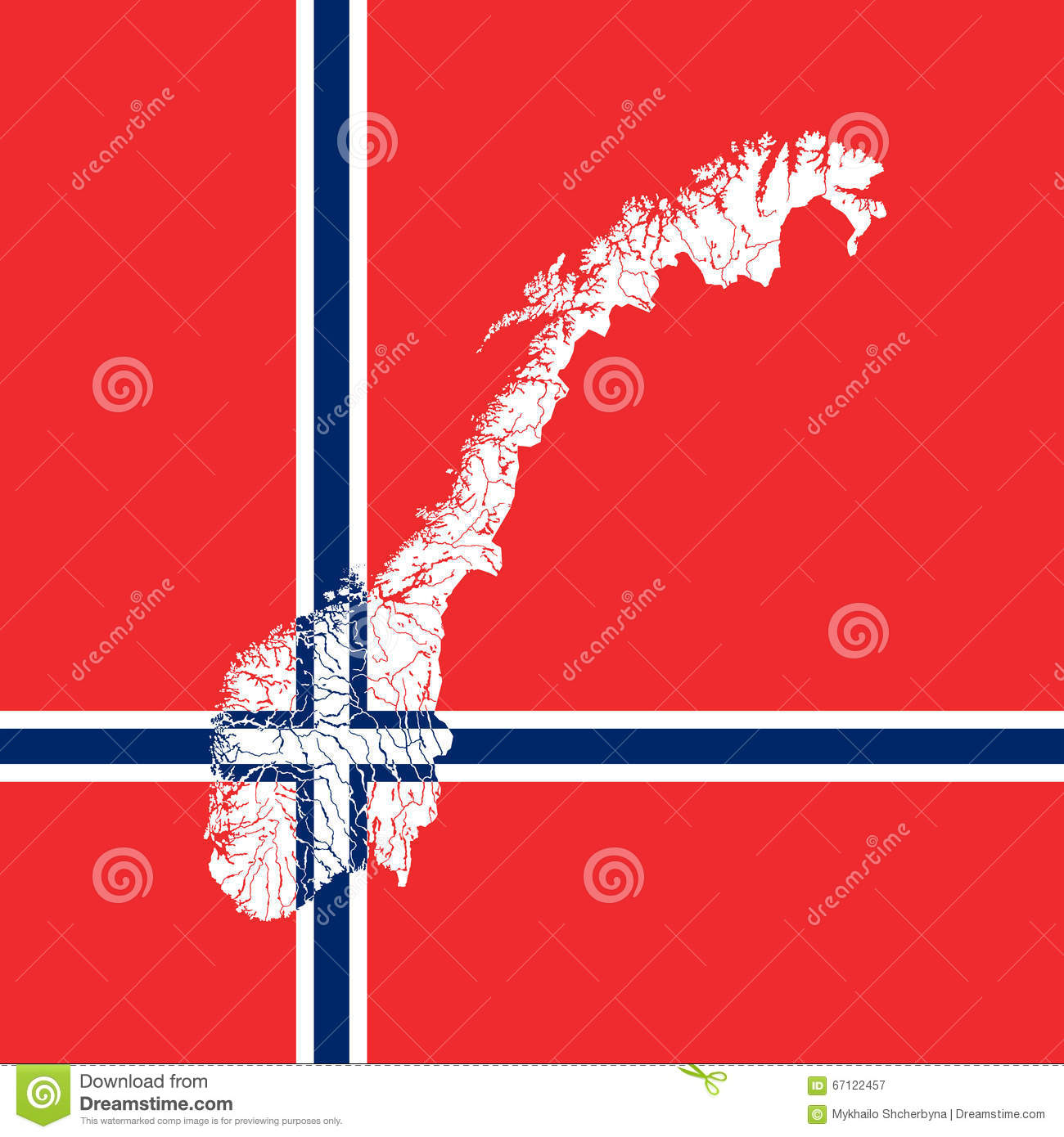 map of norway with lakes and rivers stock vector image 67122457