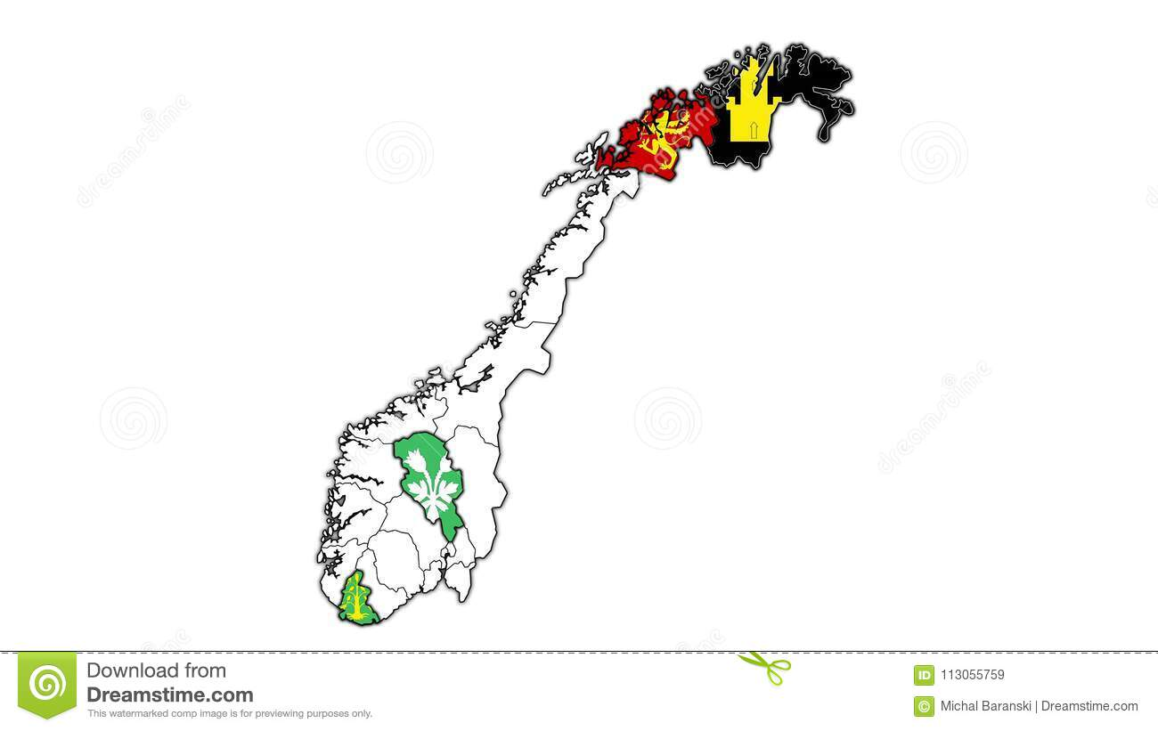 Map With Flashing Regions Of Norway Stock Video Video of division