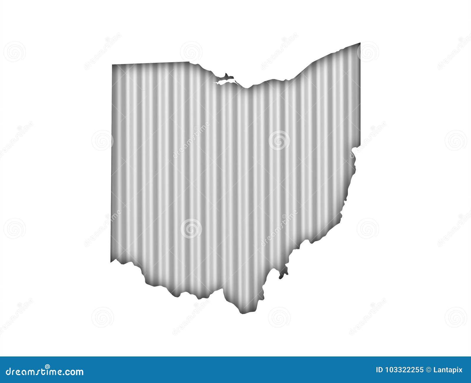 Map of Ohio on corrugated iron