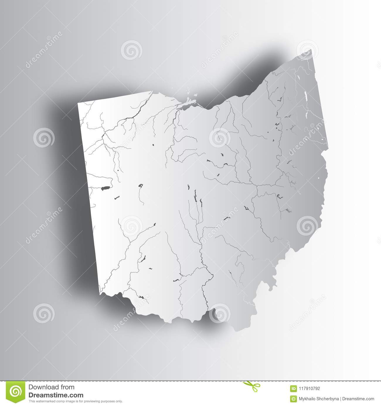 Map Of Ohio With Lakes And Rivers Stock Vector Illustration Of