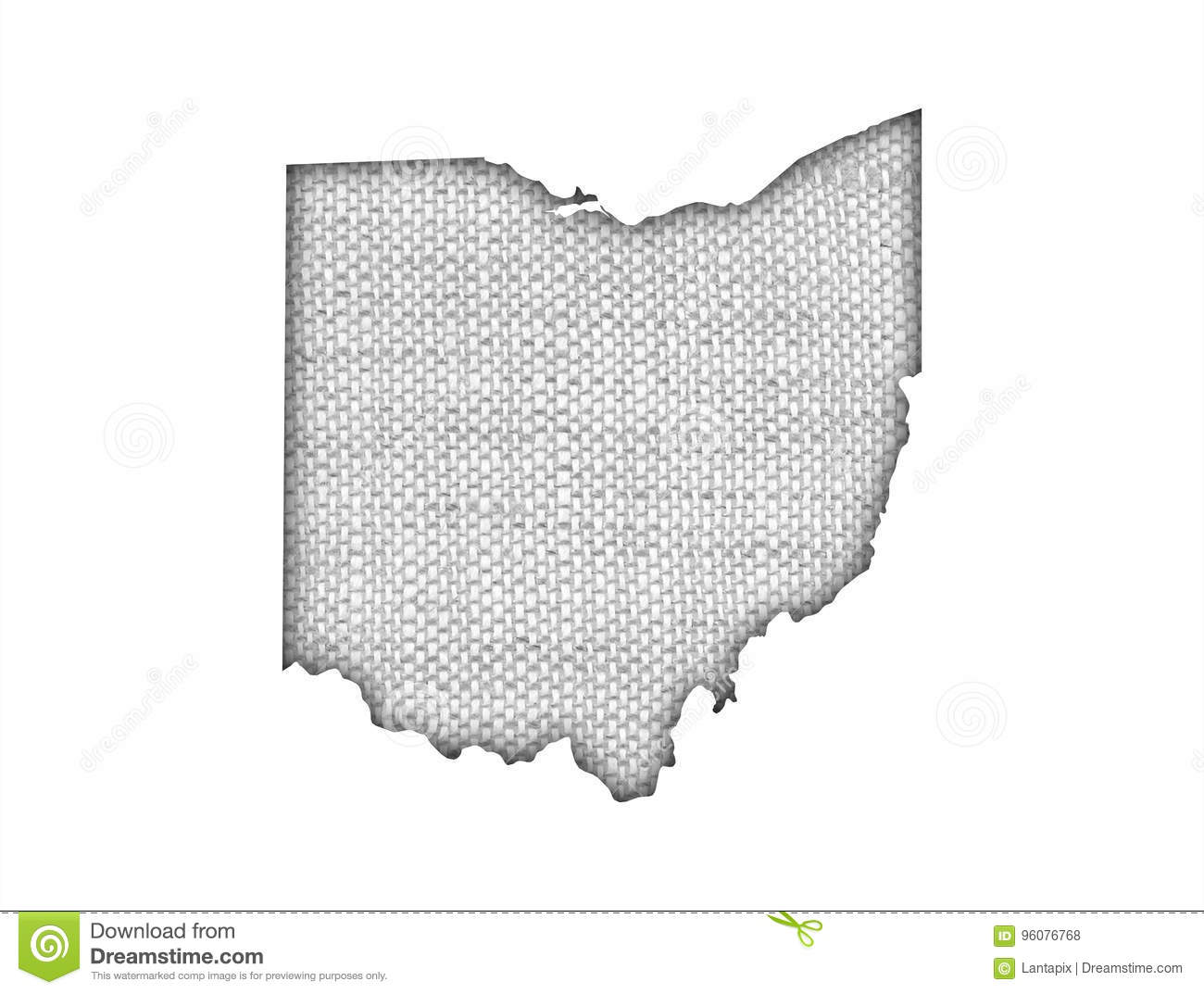 Map of Ohio on old linen