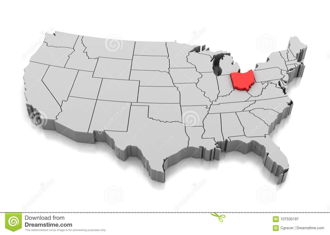 Map of Ohio state, USA stock illustration. Illustration of shape ...