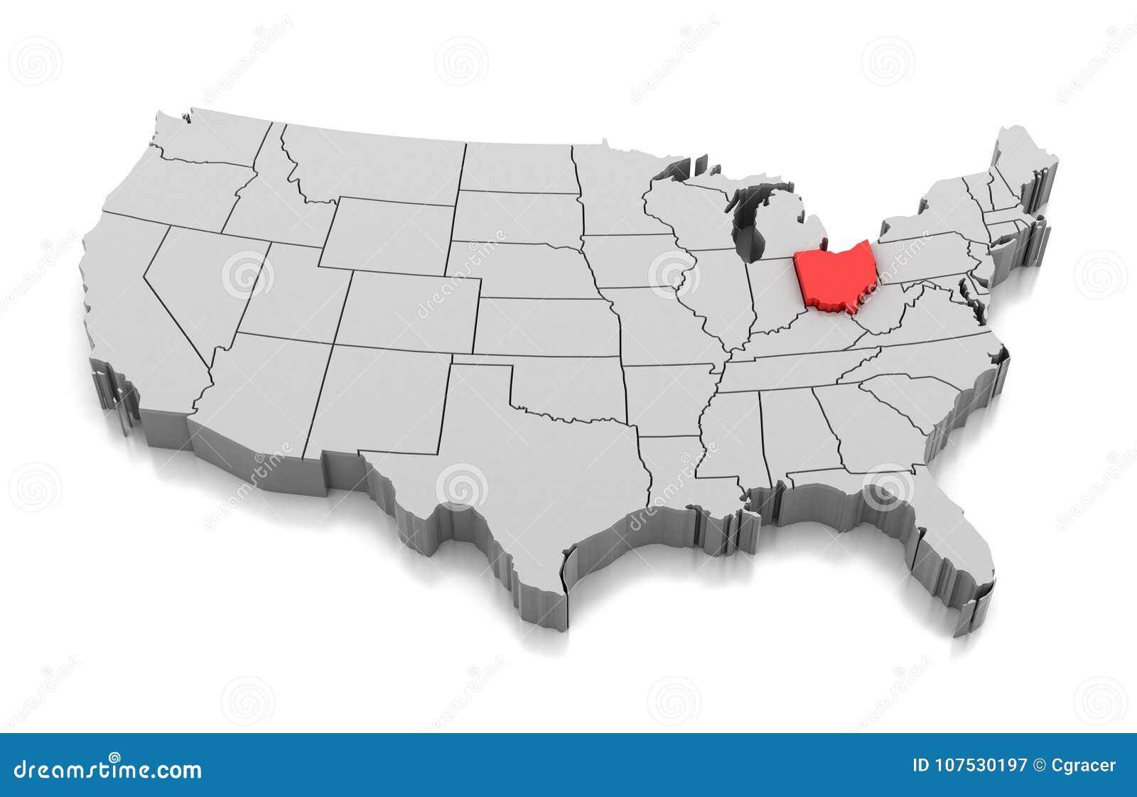 Ohio On State Map.Map Of Ohio State Usa Stock Illustration Illustration Of Shape